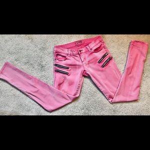 Hot Pink Tripp  moto  zippered skinny  jeans